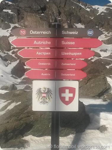 An der Grenze im Skigebiet Ischgl/Samnaun